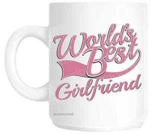 Girlfriend World's Best Pink Novelty Gift Mug shan861