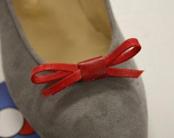 Art. 700 ash grey suede ballerina pumps with bow (accessory) detachable