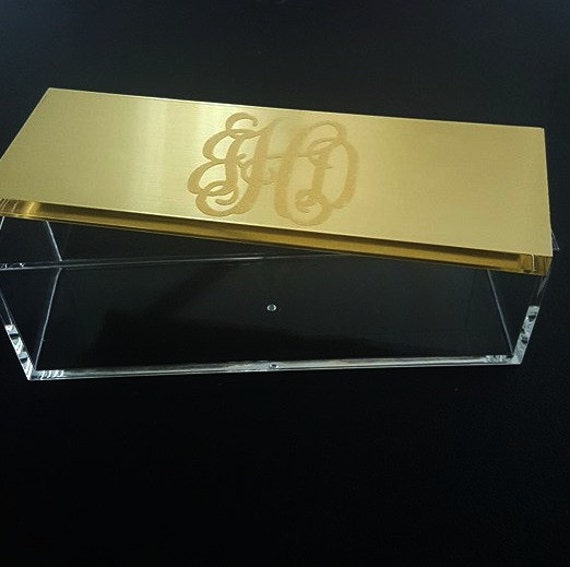 Acrylic Trinket Boxes : Monogrammed acrylic box gold jewelry trinket