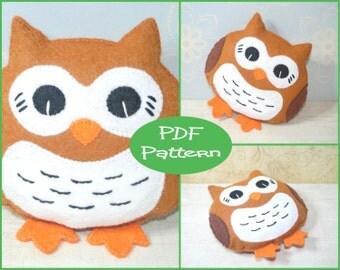 PDF Pattern - Felt Owl, Plush Pattern, Felt Doll Pattern, Felt Plush, Sewing Tutorial, Owl Toy, Owl Plush, Felt Animal, Felt Bird, Soft Toy,