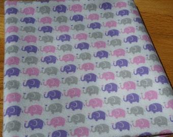 Elephant Receiving Blanket, Pink Purple and Grey Elephants, Flannel Receiving Blanket, Swaddle Blanket, Large Blanket, Elephant Blanket