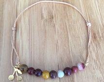 Bracelet cord adjustable Pearl semi precious Moukaite cherry charm / lucky friendship bracelet gemstone beads moukaite / lesptitskdo