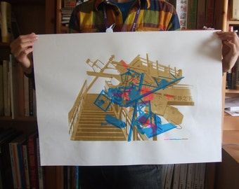 Original Screen print architecture bridge in 6 colors