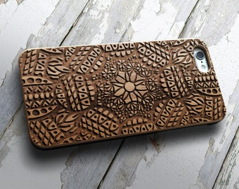 Mandala Real Wood iPhone 6 / 6s case | iPhone 6 Cover | iPhone 6S Case | Real Wood Case | Laser Engraved | Laser Etc