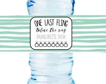 DIY Bachelorette Bash Water Bottle Labels, Bachelorette Bash, Last fling, green, 8 x 2 inch
