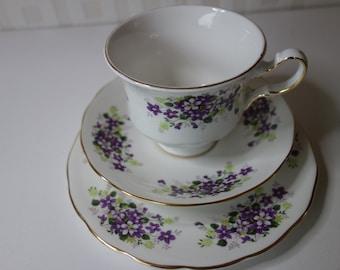 Queen Anne bone china trio violets pattern