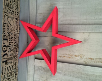 Rustic red wooden star (large)