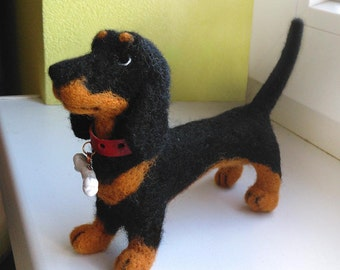 Needle Felted Animals , Little dog Lucky, Toy, Realistic dog, Animal Art Sculpture, badger-dog