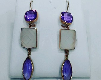 14Kt Yellow Gold Handmade Earrings Set with Amethyst and Frosted Crystal