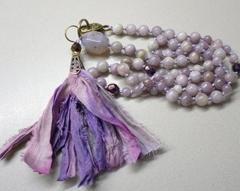 Hand knotted necklace with lilac quartz and silk tassel