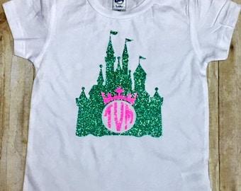 Cinderella Monogrammed Castle Shirt/Girls Castle Shirt/Custom Disney Shirt/