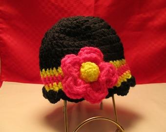 Adorable Newborn's Hand Crochet Flower Flapper/Ruffled Edge Beanie/ Hat