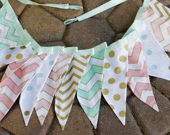 gold glitter bunting, gold dot bunting, blush gold bunting,Michael Miller Glitz,coral mint bunting,mint gold banner,baby mint banner