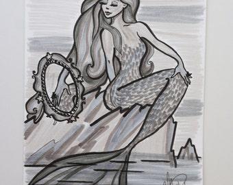 India ink mermaid