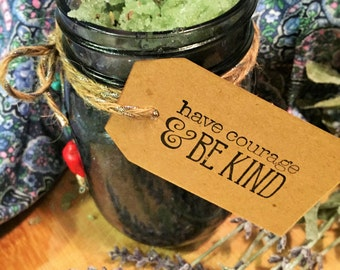 Lavender & Vanilla Body Scrub 12 oz, Bath Salts, 100% natural, Dead Sea Salts, Epsom Salt, Essential Oils, Purple Mason Jar, spoon, gift