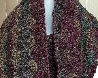 Crochet Cowl, Crochet Scarf, Burgundy Scarf, Cowl Scarf, Handmade Cowl, Infinity Scarf, Crochet Cowl Scarf, Infinity Cowl, Cowl, Scarf