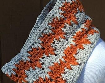 Burnt Orange Crochet Cowl Scarf, Burnt Orange Cowl, Fall Cowl Scarf, Crochet Scarf, Cowl Scarf, Gray Cowl, Crochet Cowl Scarf, Gray Scarf