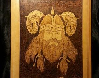 Wood Burned Viking Wall Art