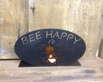 Tea Light Holder Bee Happy