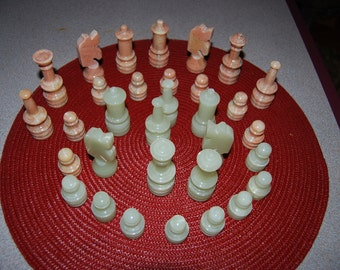 Vintage Onyx pink and white chess set (board not included)
