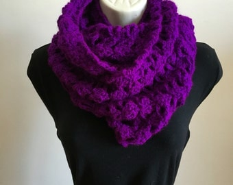 Lace Infinity Scarf, Double Loop, Purple