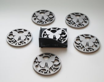 Butterfly Design Laser Cut Wood Coaster Set of 6 with Holder