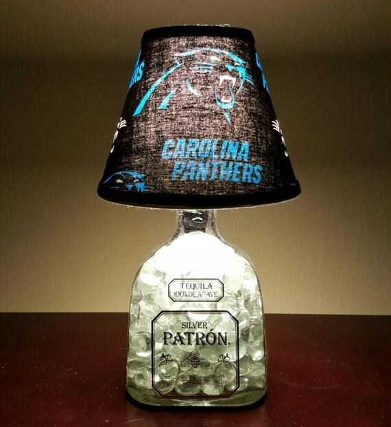Handmade LED Carolina Panthers vs. Patron Tequila Liquor Bottle Lamp