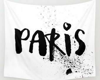Paris Wall Tapestry, Paris Decor, Dorm Decor, Wall Hanging, Black and White Paris Wall Art, Teen Room Decor, Girls Bedroom Decor, Travel
