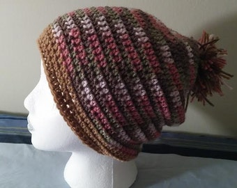 slouchy beanie neapolitan hand crocheted READY TO SHIP