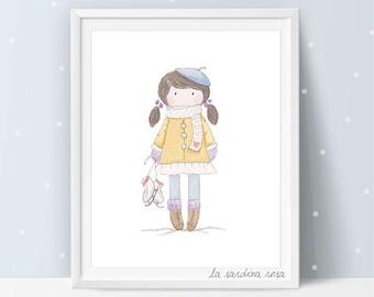 Baby Girl nursery wall art, watercolor print, custom nursery decor, winter sports, ice skating print