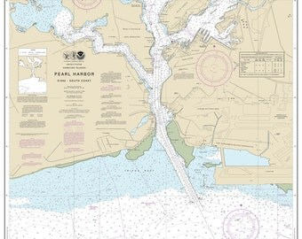 2015 Nautical Map of Pearl Harbor O'ahu South Coast Hawaii