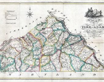 1821 Map of York & Adams County Pennsylvania