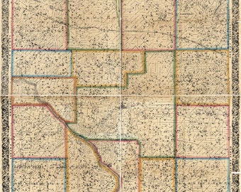 1863 Farm Line Map of Cedar County Iowa