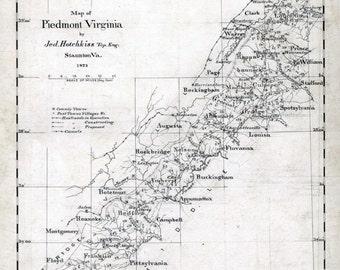 1873 Map of Piedmont Virginia