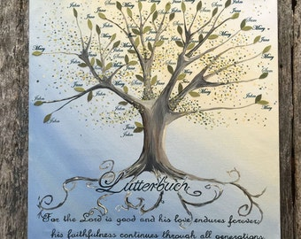Family Tree Art Canvas with names, Hand-painted Canvas, Hanging Wall Decor and Decoration, 20 x 20