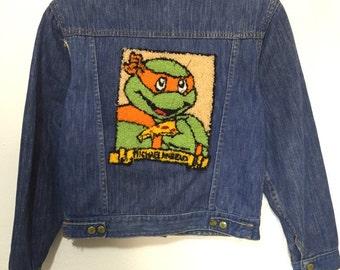 70's vintage denim jacket jean jacket with patche ninja turtles womens size small
