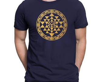 Sri Yantra Geometry Mens T-Shirt - Navy Blue
