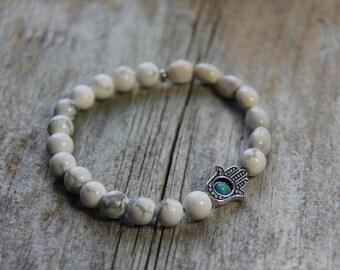 Blessing Bead Bracelets by Wanderbird - Job's Tears, Howlite, Turquoise, Hamsa Gemstone Mala Healing Bracelet