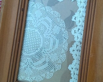Vintage Doily and Lace Edging Framed