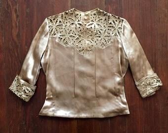 Metallic Golden Lace Blouse