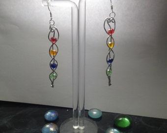 wire braided rondelle beaded earrings