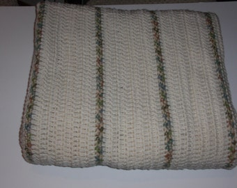 Cream Afghan with Multi Color Thin Stripes