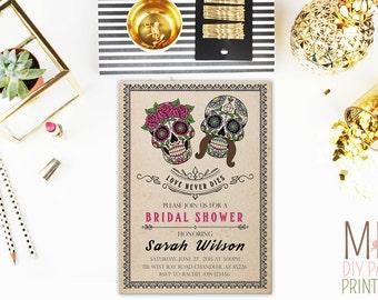 Day of the dead bridal shower,Sugar Skull Invitation,day of the Dead Invitation,Sugar Skull Birthday Invitation,fiesta invitation