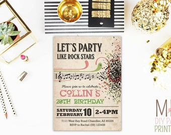 Music Invite 2,Music Party Invitation, Musical Instruments Party, Dance Party Invitation,musical,music,instrument invite,music card