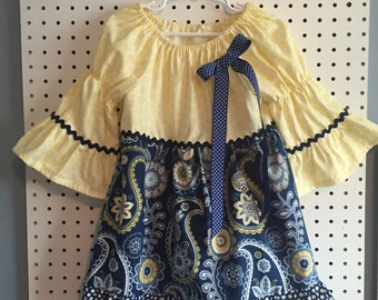 Paisley and polka dot navy and yellow toddler girl dress - size 3T