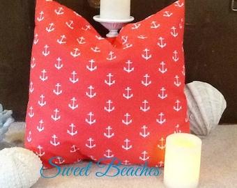 Bright Coral Anchor  Print  Beach Pillow Covers Seaside Ocean Coastal Nautical Resort Decor