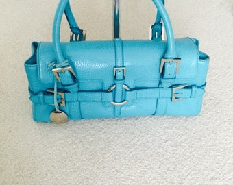 Turquoise retro leather handbag