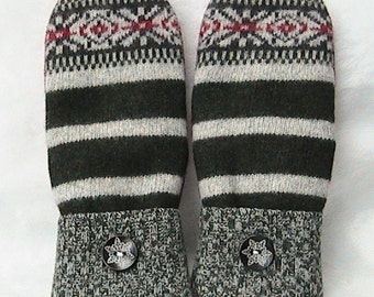 Handmade Felted Wool Sweater Mittens with Cashmere lining.