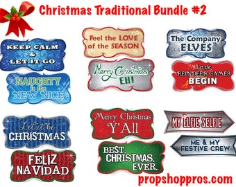 Christmas Photo Booth Props | Christmas Signs | Photo Booth Props | Prop Signs | Christmas Traditional #2