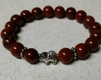 Red apple jasper stretchy beaded bracelet with elephant bead 10mm beads healing stackable jewelry